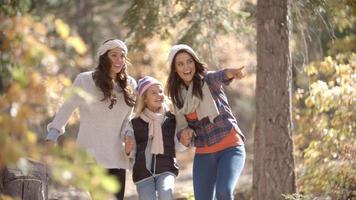 coppia lesbica che cammina in una foresta con la loro figlia video