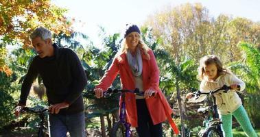 Familie auf Fahrrädern im Freien video