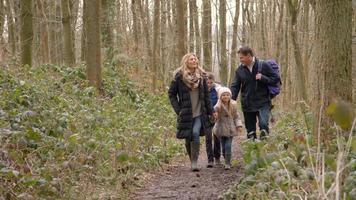 familia de cuatro personas caminando por el bosque hacia la cámara