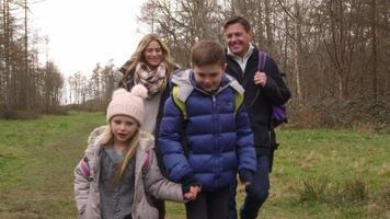 Familia caminando en el bosque hacia el seguimiento de la cámara de mano, filmada en r3d video