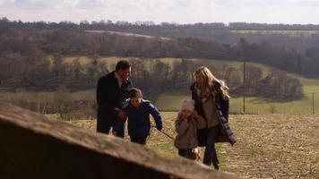 família com cachorro passando pelo portão em campo aberto, filmado em r3d video