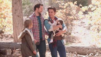 genitori maschii, bambino e figlia che camminano nei boschi, primi piani