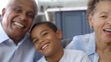 Retrato de abuelos y nietos sentados en el sofá video