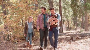 genitori maschii nella foresta con bambino e figlia a piedi alla telecamera