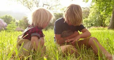 Geschwister kümmern sich zärtlich um einen Hasen im Park