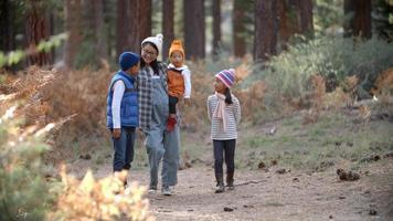 madre asiatica con tre bambini che camminano in una foresta