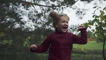 Happy and excited little girl outdoor video