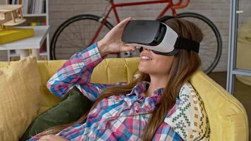 Young Woman Relaxing in VR Headset