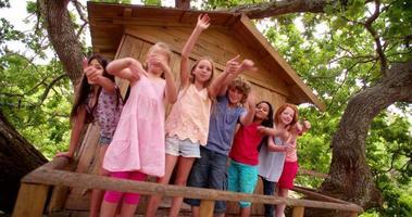 grupo racial misto de crianças acenando de uma casa na árvore de madeira video
