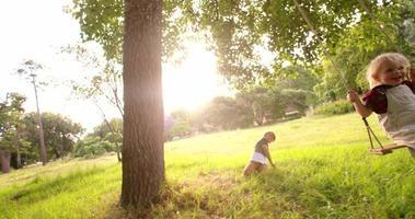 ragazzo giocoso che spinge il suo fratellino sull'altalena al parco