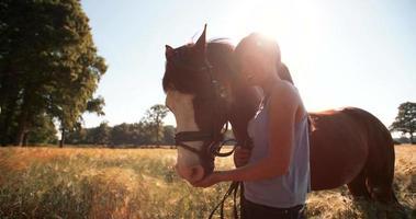 garota esfregando carinhosamente a crina do cavalo em um campo