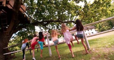 crianças brincando em uma cerca de madeira rústica em um parque