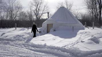 yurta invierno en ontario 4k video