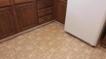 Old Kitchen Move Left and Right Down at Linoleum Floor video