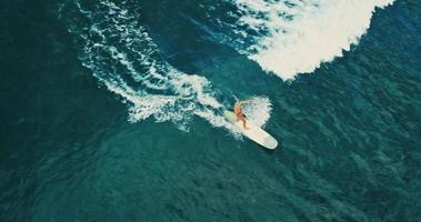 Aerial view of young woman paddling surfboard in blue ocean waves