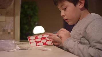 un ragazzo seduto al bancone della cucina, mettendo un adesivo natalizio su un pezzo di carta