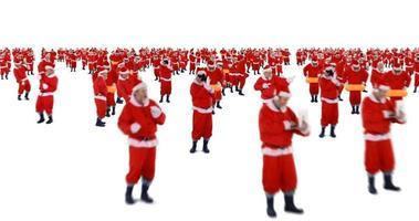 grupo de papai noel dançando e realizando atividades diversas