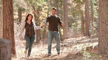 gelukkig hispanic paar hand in hand samen wandelen in het bos video