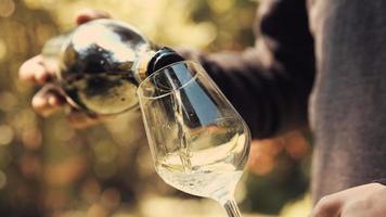 junger erwachsener Junge gießt Weißwein in ein Glas. mittlerer Schuss.