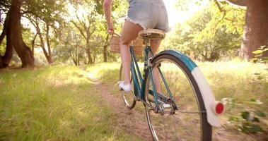 garota andando de bicicleta por um campo no verão em câmera lenta video