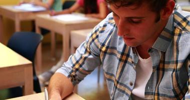 bello studente sorridendo alla telecamera in aula