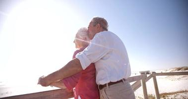 Affectionate elderly retired couple enjoying time at the beach