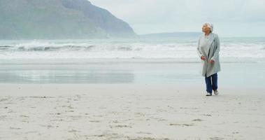 mulher idosa caminhando na praia video