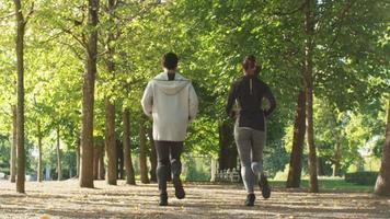 pessoas correndo para fora da câmera no parque em um dia ensolarado de verão