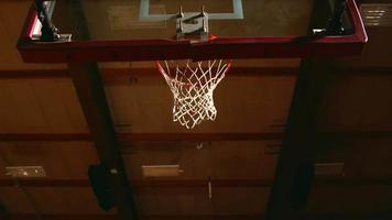vista da sotto il canestro mentre i giocatori di basket fanno schiacciate
