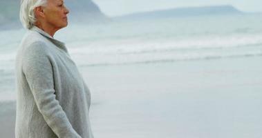 donna senior che cammina sulla spiaggia