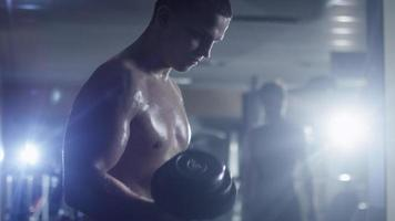 Handsome fit sporty man without shirt does dumbbell curl exercises in the gym. video