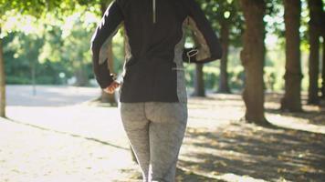 siga a foto de mulher correndo no parque em um dia ensolarado.