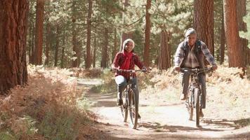 coppia nera senior ciclo passato fotocamera su un sentiero nel bosco