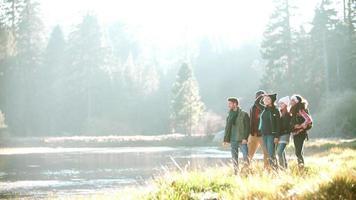 um grupo de amigos caminhando perto do lago para admirar a vista video