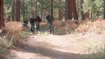 Friends riding bikes on a forest path, front view, low angle