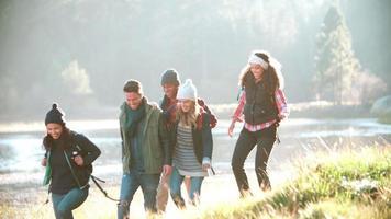cinque amici in campeggio camminando in fila vicino a un lago video