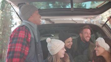 amici che parlano sul retro di un'auto, da vicino video