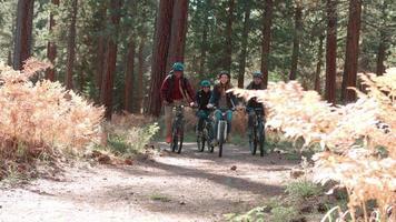 Gruppe von Freunden, die in einem Wald vorbeifahren
