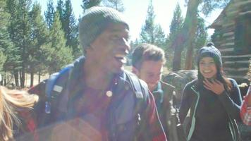 seis amigos caminando por una cabaña en un bosque, cintura para arriba, filmado en r3d video