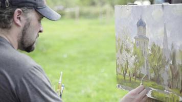 concepto primavera blanca como la nieve. artista experto dibuja pinturas de manzano en flor
