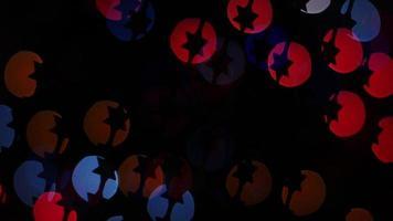 Star lights bokeh on black background. Shape video