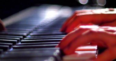 Cinematic Macro Shot of Talented Performance Musician Playing Grand Piano video