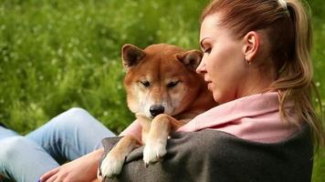 fille embrasse doucement le chien shiba inu
