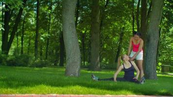 Las niñas estirando antes de hacer ejercicio físico en la hierba verde en el parque video