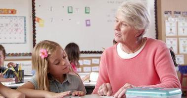 Profesor senior ayudando a joven colegiala en el aula