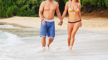coppia che cammina su una spiaggia video