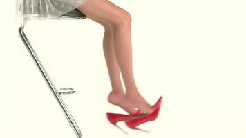 Frauenbeine und rote Schuhe.