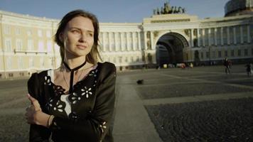 Charming woman posing at beatiful sight of St. Petersburg video