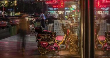 lapso de tiempo de la calle comercial china en la noche
