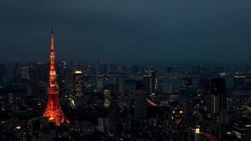 Vídeo timelapse de 4k da torre tokyo